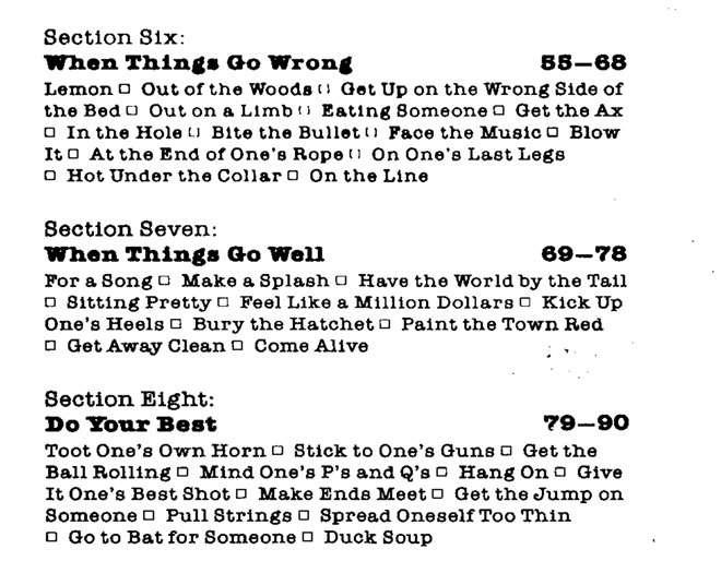 101 Idioms được chia theo 9 sections
